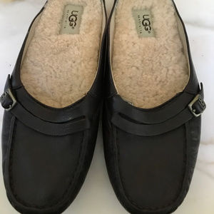 Uggs - Leather brown slipper/slip on/moc - size 8
