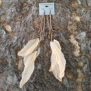 New Boho Hippie Long Cream Feather Earrings