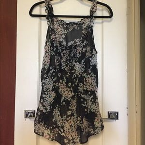 Sheer Black and Floral Blouse - Size M
