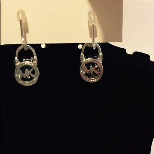 MK LOGO SILVER CRYSTAL DROP EARRINGS
