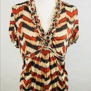BCBG Max Azria Top Blouse Sz L Large Empire Waist