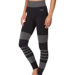 North Face second skin black grey stripe leggings