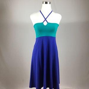 prAna Small Halter Solano Purple Green Dress