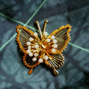 Gold and pearl butterfly brooch