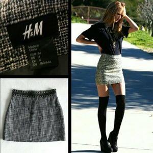 H&M Tweed Studded High Waist Lined Mini Skirt