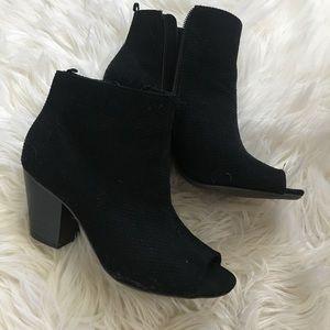 Black size 7 open toe booties