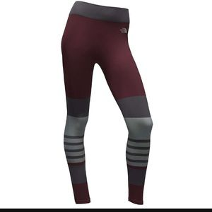 North Face second skin garnet stripe leggings