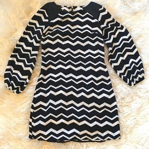 Black and White Chevron Long Sleeve Dress