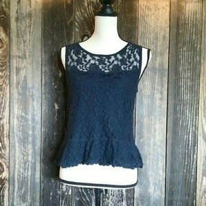 Abercrombie & Fitch Navy Lace Tank Top