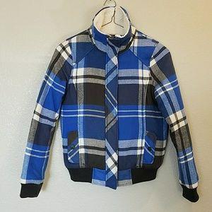 NWOT Empyre Plaid Fleece Bomber Jacket