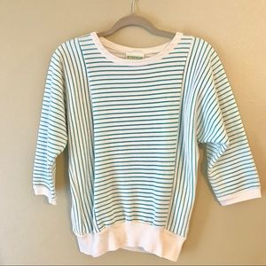 Vintage Teal Striped Sweatshirt Pullover