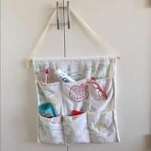Bathroom organizer hanging pockets terry cloth