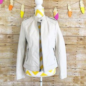 NEW Apt. 9 cream faux leather moto jacket