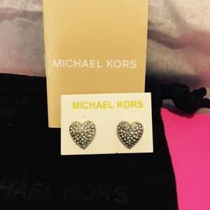 MICHAEL KIRS CRYSTAL HEART EARRINGS