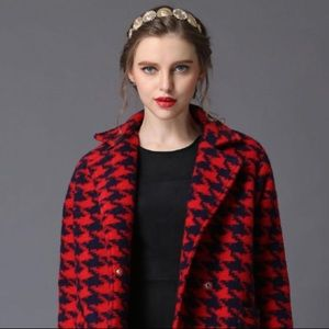 H&M Red Houndstooth Wool Moto Jacket