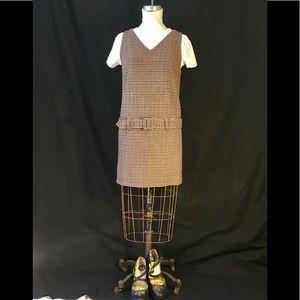 Abercrombie wool blend houndstooth belted jumper