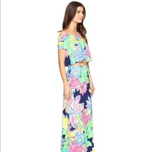 Lilly Pulitzer resort navy travelers palm maxi