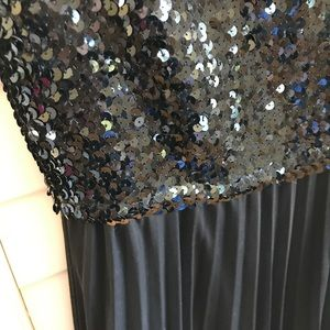 Black strapless dress with sequins