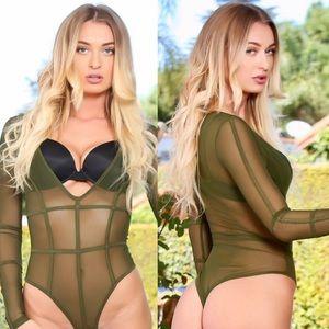 Olive mesh bodysuit