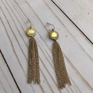 Jewelry - Vintage Gem Gold Tassel Earings