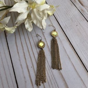 Vintage Gem Gold Tassel Earings