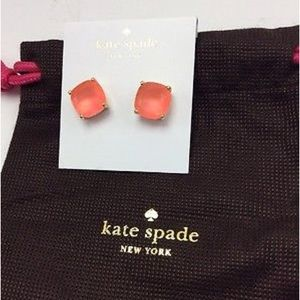 KSNY Gold Plated Flo Pink Square Stud Earrings