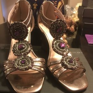Vince Camuto Jeweled Wedge Sandal - Size 7.5