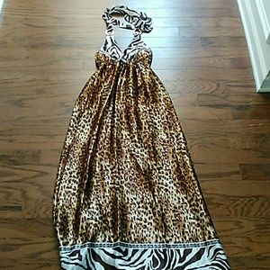 Silky  animal print halter maxi dress