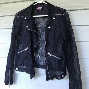 Lace motorcycle style jacket