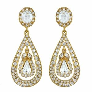 Kenneth Jay Lane Antique Earrings, gold + crystal