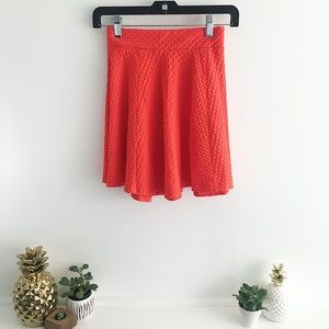 Textured Skater Skirt in Coral