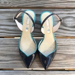 Boden Millie Slingback Heels Navy Patent leather