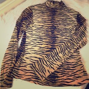Tiger stripe long sleeve fitted turtle neck silk