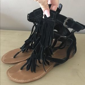 Guess Marciano black suede leather fringe sandals