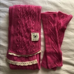 Cashmere Cable Knit Scarf & Arm Warmers