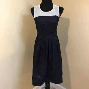Ann Taylor Loft Navy Cream Cotton Dress Sz 2P