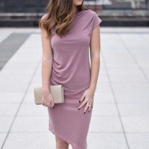 Topshop Asymmetric Slinky Drape Dress