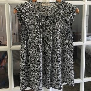 Black and white floral blouse. LOFT.