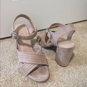 Nude block heel sandals