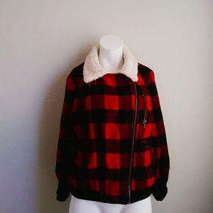 Aeropostale fur lined neck plaid jacket