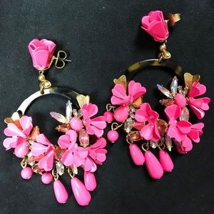 J Crew Pink Mardi Gras Earrings