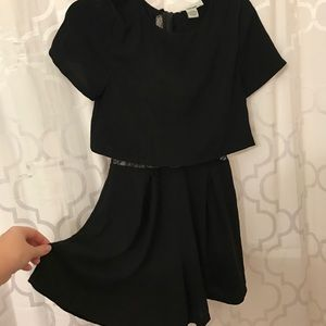 Black romper with open lace back
