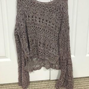Bell sleeve open knit sweater