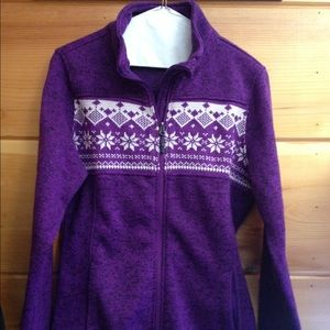 CB purple sweater cardigan snowflake medium