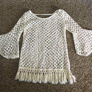 Adorable boho bell sleeve embroidered shirt