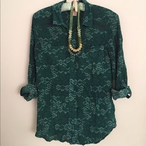 Mossimo Tribal-Patterned Sea Green Blouse