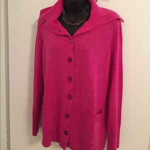 Talbots Pink Pure Merino Wool Buttoned Cardigan