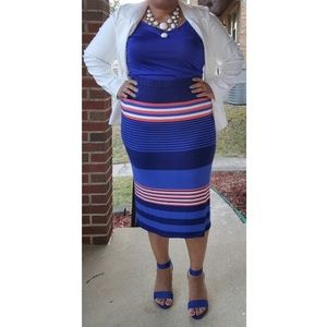 ELOQUII Striped Sweater Skirt