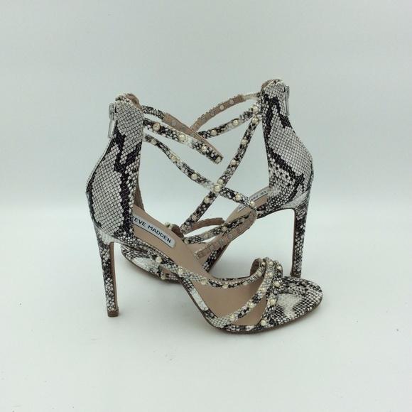 eb41b53ab17 Steve Madden Meg Snake Skin Pearl Studded Heel