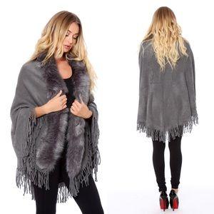 Jackets & Blazers - Faux fur poncho cape
